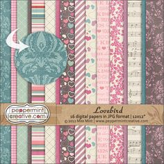 Lovebird Papers from peppermintcreative.com #valentines #scrapbook