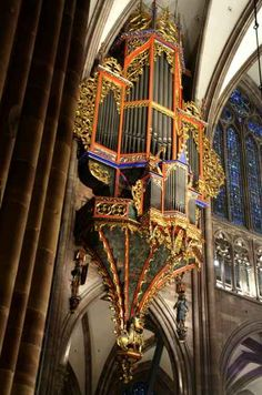 Pipe Organ in Cathedral in Strasbourg, Alsace