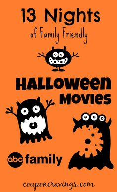 abc 13 nights of family friendly halloween movies schedule - Halloween Movies For Young Kids