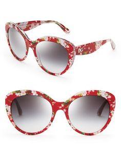 a79d47b53033e Dolce Gabbana Floral Cat Eye Sunglasses