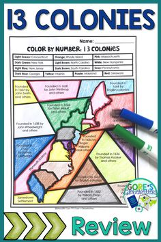 Your upper elementary students will LOVE this 13 Colonies Color by Number Activi… Social Studies Notebook, 4th Grade Social Studies, Social Studies Worksheets, Social Studies Classroom, History Classroom, Teaching Social Studies, Teaching Us History, History Activities, History Teachers