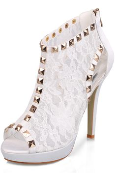 White Women's Lace Stiletto Heel Peep Toe Ankle Boots Wedding Shoes With Rhinestone Th13139 USD 69.99 EPP9292RXB - ElleProm.com
