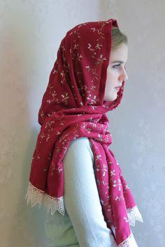 Evintage Veils~ Deep Rose Embroidered Crepe Vintage Inspired Lace Chapel Veil Mantilla Scarf