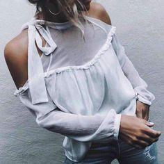 women off shoulder white chiffon blouse femme long sleeved chiffon shirts blousetop mujer plus size gv349