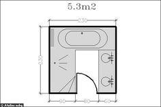 Plan d'une salle de bains de 5.3m² super équipée