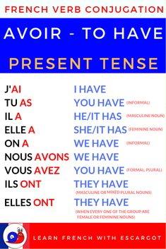 French verb conjugation - Avoir (to have) [Present tense + Exercise] French Language Basics, French Basics, French Language Lessons, French Language Learning, Dual Language, Spanish Lessons, Learn French Fast, Learn French Beginner, How To Speak French