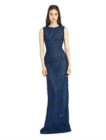 Guipure Lace Column Gown