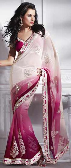 Cream and Shaded Pink Faux Chiffon Saree with blouse    Itemcode: SWS4131    Price: US$ 89.45    Click here to shop: http://www.utsavfashion.com/store/sarees-large.aspx?icode=sws4131