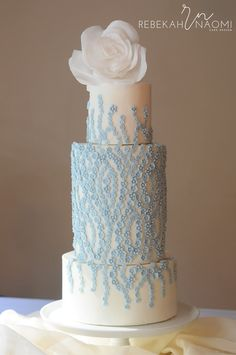 """Can't forget about Pantone's """"Serenity Blue""""...Satin Ice Artist of Excellence Rebekah Naomi Cake Design"""