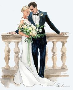 New York City based artist Inslee Fariss creates watercolor illustrations for weddings, events, brands and fine art commissions Paar Illustration, Wedding Illustration, Couple Illustration, Illustration Sketches, Watercolor Illustration, Illustrations, Wedding Drawing, Wedding Art, Watercolor Wedding
