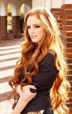 Reverse copper ombre long wavy hairstyle