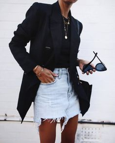 If you don't know what to wear,just pot a black blazer and denim skirt on! If you don't know what to wear,just pot a black blazer and denim skirt on! Adrette Outfits, Denim Skirt Outfits, Office Outfits, Fall Outfits, Casual Outfits, Fashion Outfits, Casual Office, Dress Casual, Summer Outfits