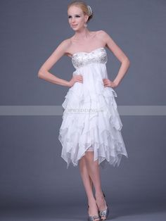 White Strapless Knee Length Chiffon Sheath Column Cocktail Dress With Tiered Bridesmaid Dresses Uk, Homecoming Dresses, Wedding Dresses, Reception Dresses, Prom Dresses Canada, Sexy Cocktail Dress, Cocktail Dresses, Evening Dresses Uk, Sweetheart Wedding Dress