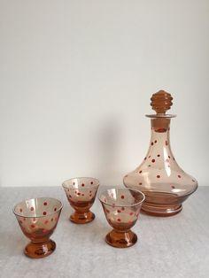 Weiteres - Set kleine Glaskaraffe Vintage mit Gläsern - ein Designerstück von katrin-Hoffmann1 bei DaWanda