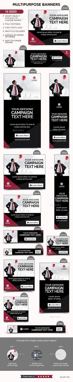 Multipurpose Banners by doto Promote your Products and services with this great looking Banner Set. 16 awesome quality banner template PSD files ready for you Web Banner, Banner Template, Web Design Tutorial, Banner Online, Facebook Banner, Banner Ideas, Website Layout, Google Ads, Poster Ideas