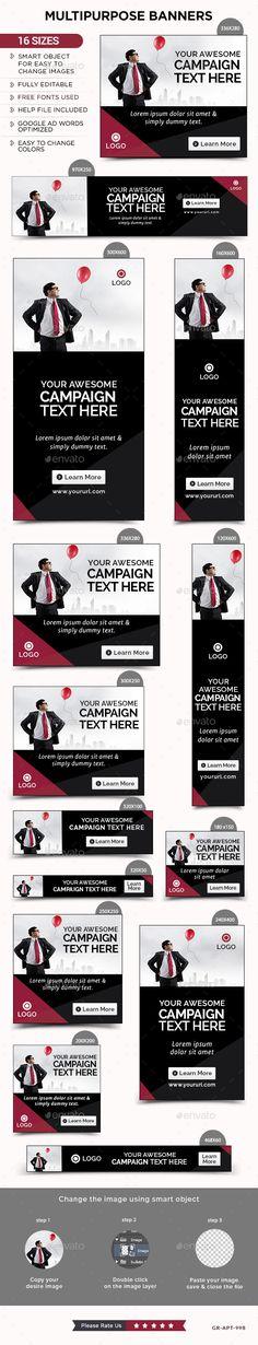Multipurpose Web Banners Template PSD #design #ads #promote Download: http://graphicriver.net/item/multipurpose-banners/13860267?ref=ksioks