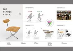 If展板'14 reader saver02 #chair #modern #industrialdesign #design #ifawards Presentation Format, Interior Design Presentation, Chair Design, Furniture Design, Design Competitions, Bench Designs, Dining Room Chairs Ikea, Sketch Design, Portfolio Design