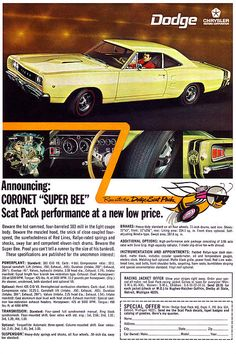 1968 Dodge Coronet Super Bee Greeting Card for Sale by Digital Repro Depot