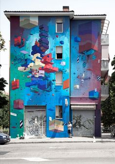 Graffiti : Mural by the artist  Etnik in Bologna, Italy at the Frontier Project. © Etnik