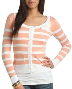 Rosette Stripe Cardigan - Teen Clothing by Wet Seal - StyleSays
