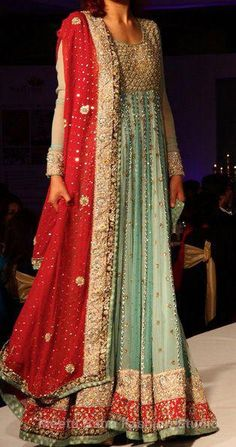 Latest Pakistani Bridal Pishwas Pistachio Green Red 2013