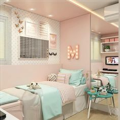 Pin by claudia aparecida dos santos on Veve in 2019 Small Room Bedroom, Room Decor Bedroom, Teen Bedroom Colors, Bedroom Ideas, Dream Rooms, Dream Bedroom, Room Interior, Interior Design Living Room, Cute Room Decor