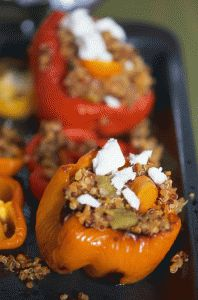 Roasted peppers stuffed with Mediterranean quinoa and feta cheese Roasted Peppers, Quinoa, Feta, Vegetarian Recipes, Stuffed Peppers, Cheese, Fruit, Cooking, Kitchen