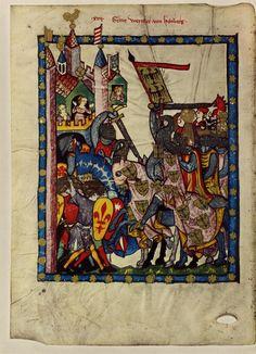 Codex Manesse, HeidICON, Tyskland, år 1304 - 1340. 2014-08-16. Kul mönster på kjortel, grå kjortel och röd kjortel, nere i vänstra hörnet.