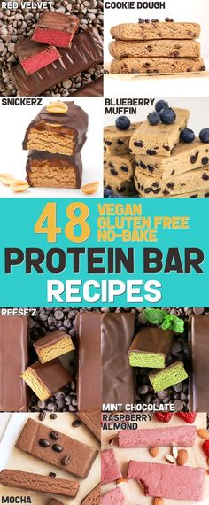 Tired of shelling out cash for protein bars at the store? Make 'em at home with The DIY Protein Bars Cookbook -- a collection of 48 healthy no-bake protein bars recipes to satisfy your sweet tooth! The recipes are gluten-free, dairy-free, soy-free, vegan, Diy Protein Bars, High Protein Desserts, Dairy Free Protein Bars, Healthy Protein Snacks, Protein Bar Recipes, Vegan Snacks, Healthy Desserts, Home Made Protein Bars, Natural Protein Bars