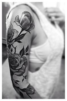 My 3/4 sleeve <3 so in love! Rose Vine Tattoo sleeve black and grey. L.k