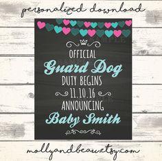 Cute Dog Pregnancy Announcement Official Guard Dog by MollyandBeau