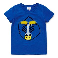 100% Cotton Slub Tee. Short sleeve t-shirt. Features baboon face placement print on front and novelty fluffy eyebrows. Regular fitting silhouette. Available in Bright Cobalt.