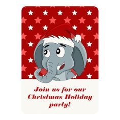 Cartoon Christmas holiday party print invitations