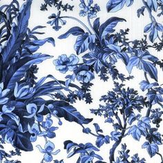 "SAVOY , large print, white background with French Blue Floral and Fauna  18"" Repeat"