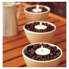 Candle with coffee beans