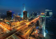 """Bustling Beijing Getting this photo was not easy at all!I knew of this area of Beijing called the CBD, or Central Business District. I notice that they have all these catchy names here, much like the building I took this photo from: """"China Merchants Build Shanghai, Cyber Day, Magic Places, Cities, Night Skyline, Fantasy City, Central Business District, City Wallpaper, Cityscape Wallpaper"""