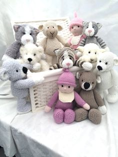 Knitting Pattern Set for Toy Softies including Polar Bear, Cat, Koala, Doll, Lamb - All are knit flat and assembled. See more pics and get the pattern on Etsy http://www.awin1.com/cread.php?awinaffid=234273&awinmid=6220&p=https%3A%2F%2Fwww.etsy.com%2Flisting%2F463483240%2Ftoys-from-the-toybox