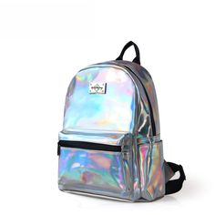 Epiphqny Brand Fashion Holographic Backpack Women Backbag Ladies Travel Bag  PU Leather Small Backpack Women Silver-in Backpacks from Luggage   Bags on  ... 534d7de6d2