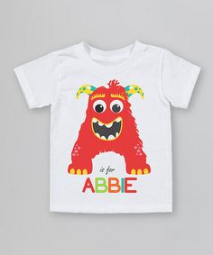 Take a look at this White 'A is For' Organic Personalized Tee - Infant, Toddler & Kids by Morado Designs on #zulily today!