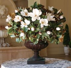 For The Entryway or Foyer: Magnolia in Palladin Urn from Winward Home Fine Permanent Botanicals Church Flower Arrangements, Church Flowers, Beautiful Flower Arrangements, Silk Flower Arrangements, Magnolia Leaves, Magnolia Flower, Magnolia Bouquet, Watercolor Floral Wallpaper, Luxury Flowers