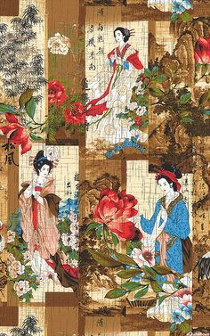 Nobu Fujiyama - Crane Dynasty - Geisha Portraits - Quilt Fabrics from www.eQuilter.com