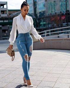 Wrap white Bodysuit - All About Casual Work Outfits, Business Casual Outfits, Mode Outfits, Work Casual, Classy Outfits, Stylish Outfits, Fashion Outfits, Fashion Clothes, Black Women Fashion
