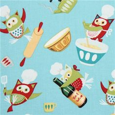 blue Owl Chefs animal fabric from the USA 1