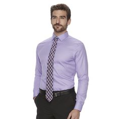 Men's Marc Anthony Textured Slim-Fit No-Iron Dress Shirt, Size: 17.5-32/33, Med Purple