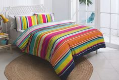 The Havana stripe quilt cover set is one the designs in the new 'Esk' manchester range created exclusively for Fantastic Furniture by KAS Australia. Double $59, Queen $69, King $79. Double Quilt, Striped Quilt, Quilt Cover Sets, Bedroom Sets, Bedroom Furniture, Manchester, Mattress, Comforters, Quilts