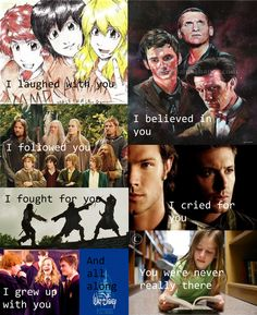 Percy Jackson, Doctor Who, Lord of the Rings, Supernatural, Pirates of the Caribbean, Harry Potter, Disney.
