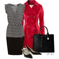 Red Sass at Work by styleofe on Polyvore featuring Boutique by Jaeger, H&M, Coast, Rupert Sanderson and Dooney & Bourke