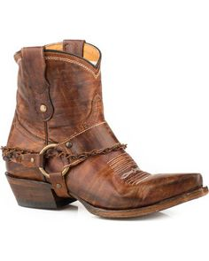 Say howdy-do to ranch-ready style when you pull on these snip-toe leather cowboy boots embellished with vintaged harness and chain accents for a fashion-forward look straight from a Wild West saloon. Short Cowgirl Boots, Ankle Cowboy Boots, Cowboy Boots Women, Short Boots, Western Boots, Riding Boots, Bike Boots, Women's Boots, Western Style