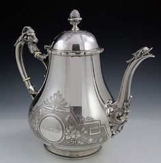 Coin silver teapot with engraved grape and vine motif, and figural goat and acorn finial  - believed to be the work of John Kedzie, Philadelphia c1855 (Britannia Silver)