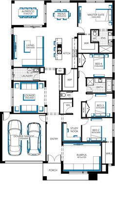 Get rid of the rumpus and turn into a study. Home Designs & House Plans, Melbourne Dream House Plans, House Floor Plans, My Dream Home, Carlisle Homes, Large Houses, Craftsman Floor Plans, Coastal Bedrooms, Sims 4 Houses, House Blueprints